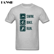 Summer Fashion Triathlon Swim Bike Run Tshirt Mens Short Sleeve Organic Cotton Men T Shirt Camisetas Plus Size(China)
