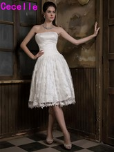 2017 New Informal Ivory Lace Vintage Wedding Dresses Strapless Pleats Tulle Knee Length Reception Outdoor Bridal Gowns Custom