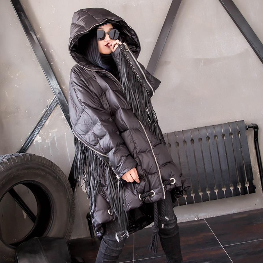 Winter new fashion brand good quality long thicken parkas female Streetwear style Tassel letter print parkas outerwear gx1338