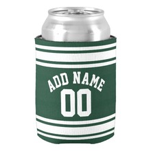 Creative Wedding Can Cooler Birthday Gift Favors Custom Name Beer Can Holders Stylish Name & Number Green Stripe Drink Insulator