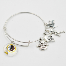 5 PCS 18MM Snap Button Dangle Charms Extensible Bracelet Washington Redskin Football Team With Silver Dangle Adjustable Bangle(China)