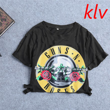 KLV Sexy Hole Women T-Shirt 2017 New Guns Rose Print Crop Top T Shirt Cropped Tops Hollow Out Short Sleeve Tee Shirt Femme(China)