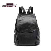 Leather backpack women goat leather back pack female Double Shoulder Bags Fashion Korean 2017 Hot Sale New fashion Sac(China)