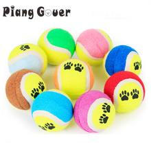 Pet Tennis Ball Toy Paw Colorful Funny Outdoor Chewing Rubber Playing Dog Ball Toys(China)