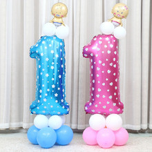 Oversized 40 inch Pink Blue Number Balloon Aluminum Foil Helium Balloons Birthday Wedding Party Decoration Celebration Supplies