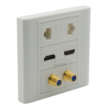 2 Ports HDMI, 2 ports F head TV, 2 ports CAT6 RJ45 wall plate with female to female connectors