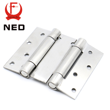 2PCS NED-5101 4 Inch Double Action Spring Door Hinge Stainless Steel Rebound Hinge For Cafe Swing Western Hidden Door Hardware(China)