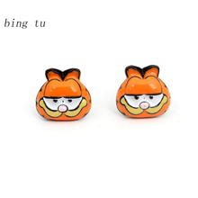 Bing Tu Classic Cartoon Stud Earrings Lovely Animal Dog/Garfield Cat Enamel Earrings Women Fashion Party Costume Jewelry Gift