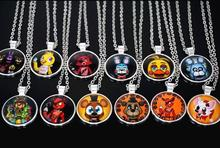 12PCS\LOT Five Nights at Freddy's Necklace Toys FREDDY FAZBEAR Scrabble Tile Pendant necklace Time gem Halloween presents
