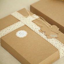 New 23.3*15.2*3cm 10pcs natural Kraft Disposable Paper Box Diy Birthday Holiday Party Gift Packaging Keep Treasure