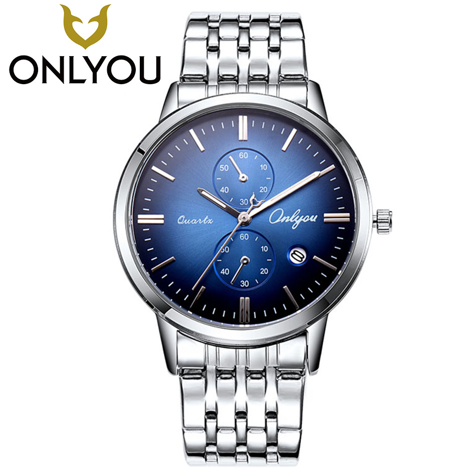 ONLYOU Military Sports Unique Design Couple Stainless Steel Calendar Quartz Watches Lovers Male Woman Leisure Style Couple Watch<br>