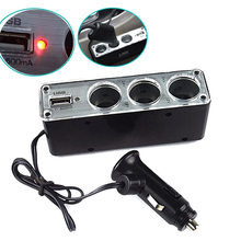 3 Way Multi Socket Car Cigarette Lighter Splitter USB Plug Charger DC 12V/24V Triple Adapter With USB Port  DXY88