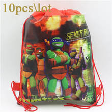 Birthday Party Decoration Ninja Turtle Non-Woven Fabric Backpack Kids Favors Drawstring Gift Bags Baby Shower Supplies 10pcs\lot