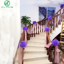 Marriage wedding staircase handrail decorative flower ball wedding room decor gauze curtain yarn balls dance party ornaments