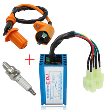 Motorcycle Racing Performance Gy6 50cc 125cc 150cc Scooter Moped ATV 6 pin AC CDI+ Ignition Coil + Spark Plug