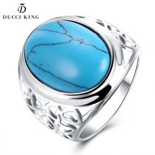 Fashion White Gold Color Finger Ring Female Men Vintage Big Oval Kallaite Turquoises Rings For Women Man Knuckle Party Jewelry