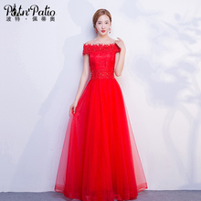 PotN'Patio 2017 New Elegant Boat Neck Red Bridesmaid Dresses Long Plus Size Fast Shipping Wedding Party Dress