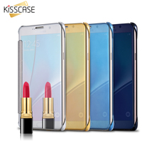 KISSCASE Note 5 Bag Mirror Gold Plating Leather Flip Case For Samsung Galaxy Note 5 N9200 Full Protective Accessories Cover