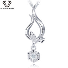 DOUBLE-R Women Natural Diamant Pendants 0.01ct Diamond Plant 925 Sterling Silver Pendant Necklace Classic Gift Diamond Jewelry(China)