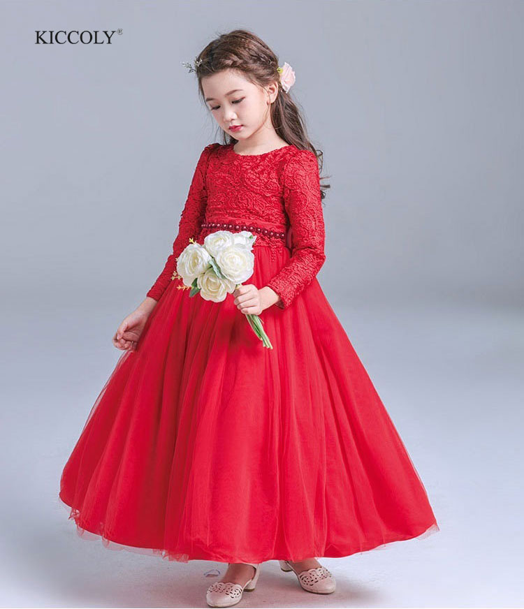 2018 New Spring Autumn Fashion Girls Dress Long-Sleeved Embroidered lace Ball Gown Waist Bead Princess Dress Kids Wedding Dress<br>