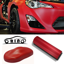 1.52x30m/Roll RED 3D Carbon Fiber Vinyl Carbon Fibre Car wrapping Film For Vehicle Wraps with Air release