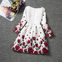 Long Sleeve Floral Print Party Dresses Girls Princess Dress Children Clothes Teenage Girls Formal Dress Children Clothes