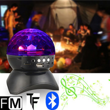 New LED Stage Effect Lights Portable Stereo Mini Bluetooth Speaker Colorful with MP3 Speaker FM for Party KTV Disco DJ(China)