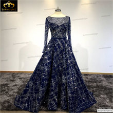 Arabic Evening Dresses Elegant Floor Length Evening Dresses 2016 Boat Neck Long Sleeves Prom Party Gowns Dark Navy prom dress(China)
