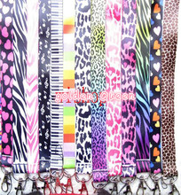 Wholesale 10Pcs Popular leopard print Neck Straps Lanyards Mobile Phone,ID Card,Key Condole belt Mixed M030