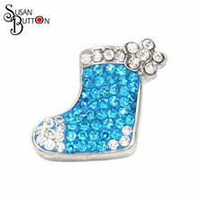 12pcs/lots Hot Sale  Ceramic Rhinestone Snap Button Jewelry  Light Blue Santa Sock Snap Susan Button For Snap Bracelets  SB247