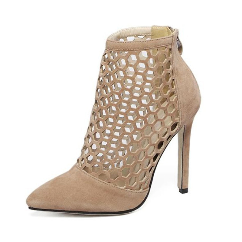 European Summer Autumn High Heels Sandals Faux Suede Pumps Women Hollow Cut Outs Ankle Boots Black/Apricot Big Plus Size 35-40<br><br>Aliexpress