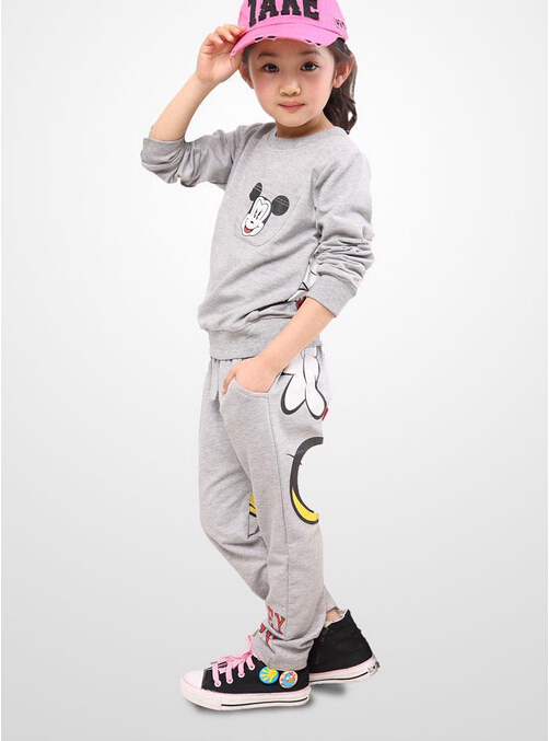 Girl clothing spring autumn Childrens sweat suit Children clothes Sport long-sleeved fleece child mickey two-piece Coat + pants<br><br>Aliexpress