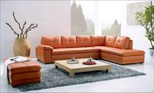 Free Shipping Modern Sofa, made with Top Grain Leather L Shaped Corner Sectional Sofa Set with Ottoman, Longue Leather Couch(China)