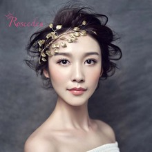 handmade birdal wedding Hair ornaments gold color leaves lady girls wedding party accessories women hairband headband RE617
