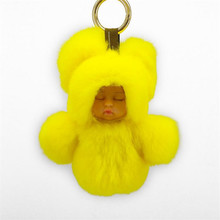 Fasnion 13cm Cute Sleeping Baby Doll Key Keychains Real Rex Rabbit Fur Pom Pom Keyring Bunny Bag Car Trinket Women Gift(China)