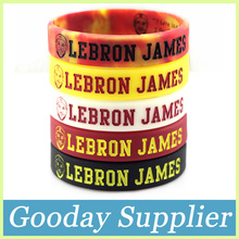 2PCS LEBRON JAMES basketball silicone bracelet china Debossed head rubber band Embossed silicone wristband for men(China)
