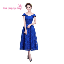 short red and blue lace boat off shoulder vintage special occasion dresses gown elegant ladies evening dress formal wear H3841(China)