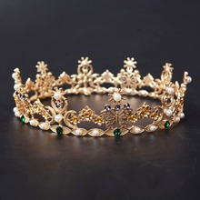 Vintage Golden Baroque Full Round Colorful Butterfly Wedding Tiara Crown Crystal Bridal Queen Princess Crown Royal Crown