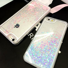 Romantic Fluorescent Heart Liquid Glitter Sand Bling Clear Case cover for Apple iPhone 4 4s 5 5s 5C 6 6S 6plus Cell Phone Cases
