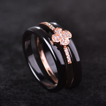 Blucome Luxury Flower Ceramics Women Man Ring Black White Rings Rose Gold-color Three Lines Wedding Accessories Zircon Jewelry(China)