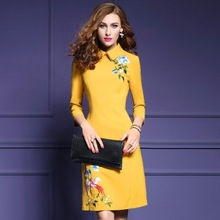 Buy hot sale dresses winter 2017 new spring Chinese Style Party dress Elegant Embroidery Clothing women s xxxl Ladies flowers dress for $72.90 in AliExpress store
