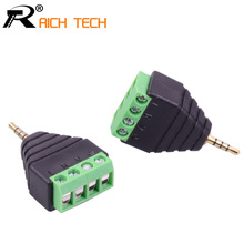 3pcs Video AV Balun 2.5mm 4 Pole Stereo Male to AV Screw Terminal Stereo Jack 2.5 mm male 4 pin Terminal Block Plug connector(China)