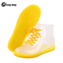 Feng Nong Ankle Rain Boots British Fashion Platform Lace Up PU Waterproof Motorcycle Colorful Ankle Martin Boots Woman Shoes(China)