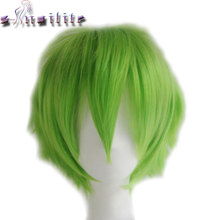 S-noilite Synthetic Women Men Short Hair Wig Cosplay Fancy Dress Full Head Wigs Black Blue Purple Green Yellow(China)
