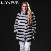 LIYAFUR 2017 New Real Genuine Natural Chinchilla Rex Rabbit Fur Winter Stripe Overcoat Coat for Women Furry Coats Jacket