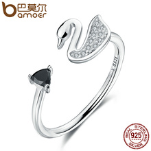 BAMOER Popular Genuine 925 Sterling Silver Swan Love Clear Triangle Black CZ Women Open Finger Rings Engagement Jewelry SCR075(China)
