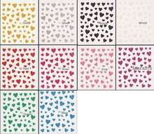 10PCS/lot Sweet Heart 10 Color Design 3D Nail Sticker Gold Silver Black Sexy Red Nail Decal With Glitter Powder Free Shipping