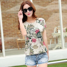 2017 High Quality Summer Fashion Women Chiffon Casual Short Sleeve Flower Print Soft Loose Blouses Shirt Lady Plus Size Top(China)