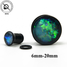 BOG Black Acrylic Single Flare Ear Tunnel Plugs With O Ring Like Opal Stone Crystal Earlet Expander Gauges Piercing Body Jewelry(China)