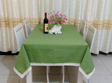 Cotton linen fabric pastoral brief dot dining table cloth rectangle round square green blue pink coffee table cloth custom